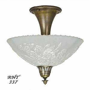 Antique Opal Glass Bowl Shade Ceiling Light Fixture Semi