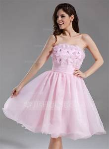a line princess strapless knee length organza homecoming With robe forme empire