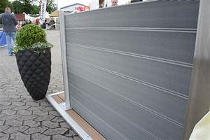 wpc sichtschutz zaun set alu 4 m wpc dielen zaun shop With französischer balkon mit gartenzaun set