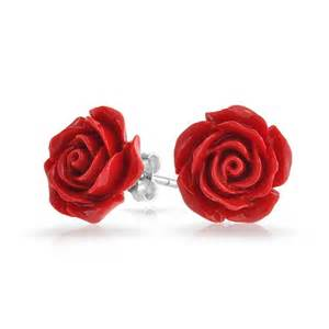 Red Carpet Roses by Silver Plated Rose Flower Stud Earrings 10mm