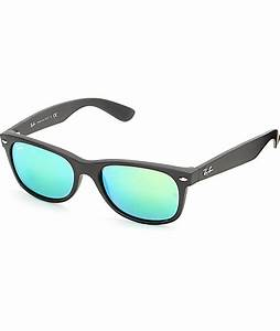 Ray-Ban New Wayfarer Black Rubber Green Mirror Sunglasses ...