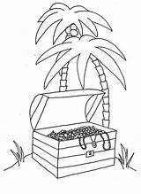 Coloring Tropical Treasure Island Chest Pages Young Digging Boy Opened Pdf Coloringhome sketch template