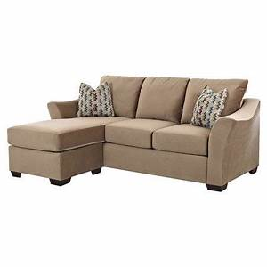 Tan sectional sofa with flared arms and fiber wrapped foam for Sectional sofa joss and main