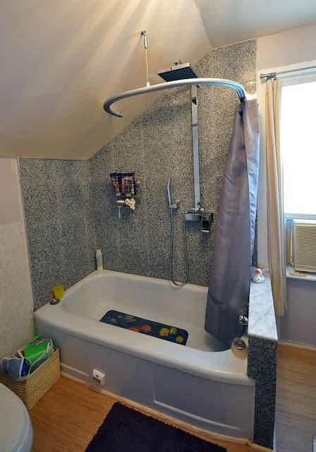 kvartal shower curtain  dormered bathroom ikea