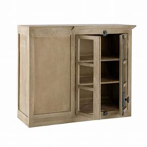 meuble haut d39angle de cuisine en manguier l 100 cm With meuble d angle maison du monde