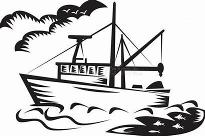 Fishing Boat Commercial Ship Sea Woodcut Less