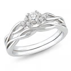 cheap real wedding ring sets affordable infinity wedding ring set in 10k white gold jewelocean
