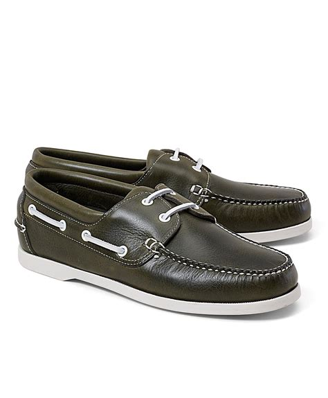 Brooks Brothers Boat Shoes by Brooks Brothers Leather Boat Shoes In Green For Men Lyst