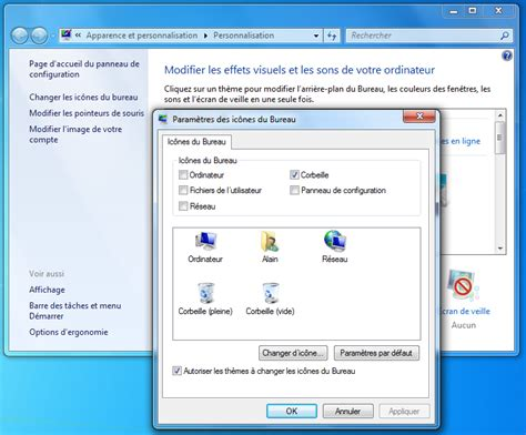 plus de bureau windows 7 icônes sous windows aidewindows