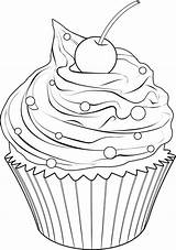 Cupcake Drawing Cupcakes Coloring Outline Drawings Printable Cake Pages Line Colouring Draw Cute Ice Sheets Books Da Cakes Adult Food sketch template