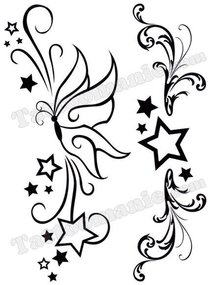 tatouage etoile arabesques papillon tatouage papillon