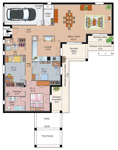 exemple plan maison plain pied plans maisons