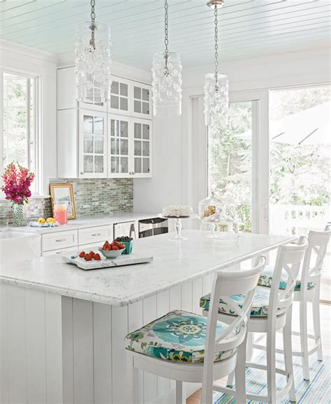 White And Turquoise Kitchen  Cottage  Kitchen Coastal