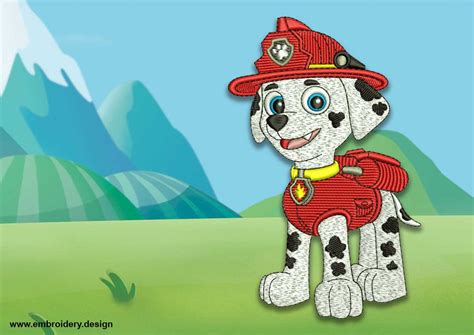 Cute Dog Marshall From Paw Patrol Embroidery Design