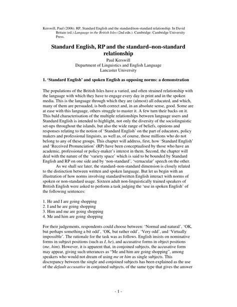 (PDF) Standard English, RP and the standard-non-standard