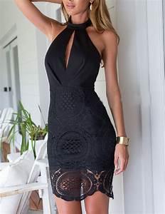 Cocktailkleid Hochzeit Gast : r ckenfreies spitzenkleid mit neckholder schwarz fashion pinterest ~ Orissabook.com Haus und Dekorationen