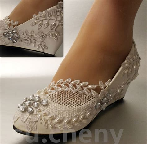 wedding wedges shoes 2 quot heel white ivory wedge pearls lace wedding 1216