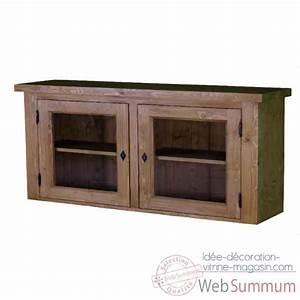 Haut de cuisine vitre 2 portes antic line dans ameublement for Idee deco cuisine avec magasin lit