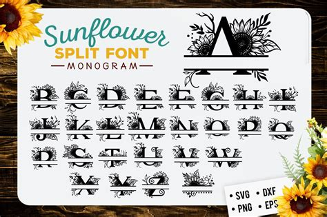 sunflower split font monogram svg  cut files design bundles