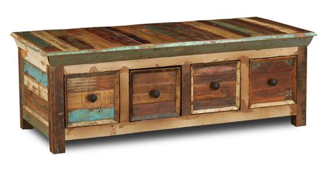 reclaimed indian  drawer coffee table trade furniture