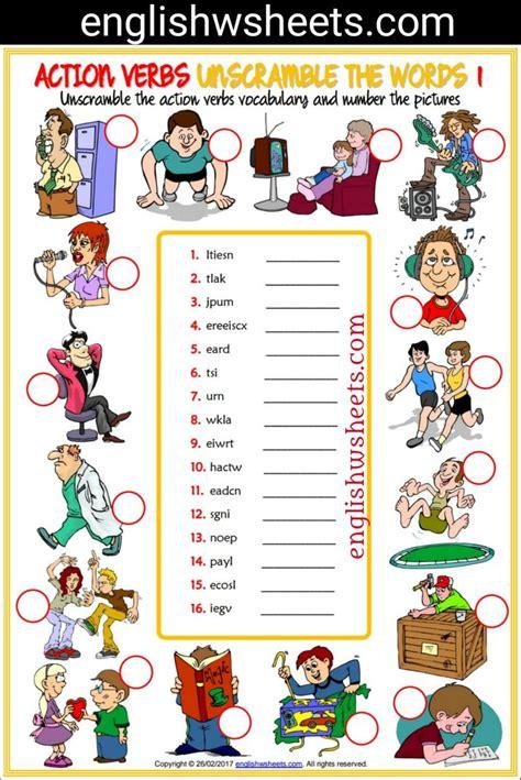 action verbs esl printable unscramble  words worksheets