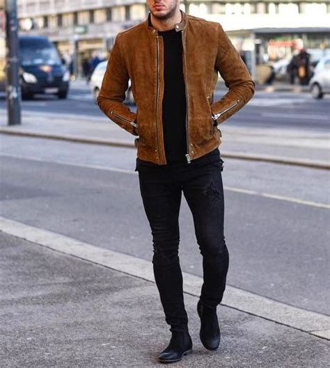 brown biker style men tan brown fashion suede jacket men biker style casual