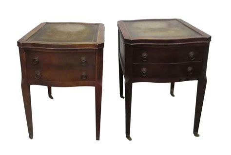 Living Room Antique Side Tables by Leather Top Side Table With Drawers Olde Things