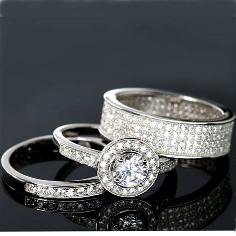 wedding rings 3 piece halo engagement bridal cz 925 sterling silver matching ebay
