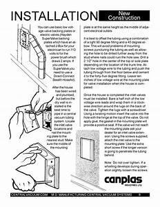 Central Vacuum Installation Manual New Construction