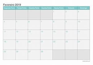 Calendário fevereiro 2019 para imprimir iCalendáriopt