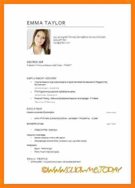 Model De Cv Simple by Model De Cv Format Word Modele Cv Couleur Codesducambresis