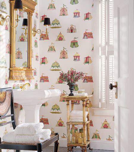 elegant nest powder room wallpaper
