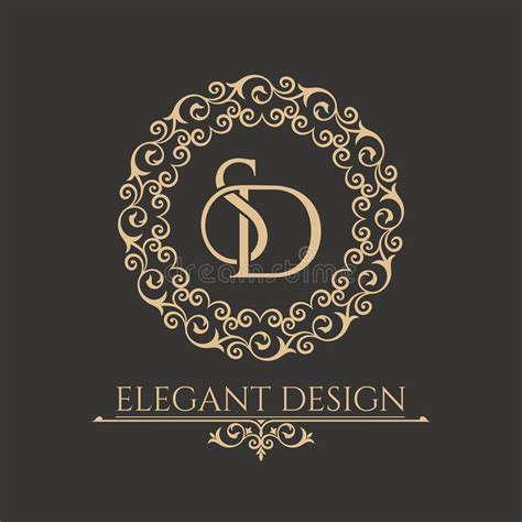 monogram  intertwining letters sd stock vector illustration  baroque antique