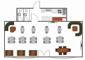 Caf Floor Plan Example Professional Building Drawing