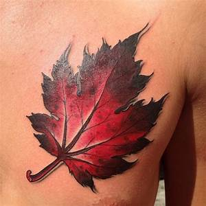 Red maple leaf chest tattoo - TattooMagz