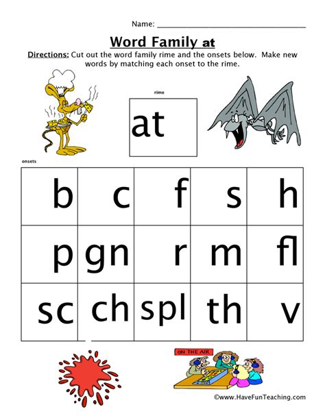 word family worksheets page 2 of 2 teaching