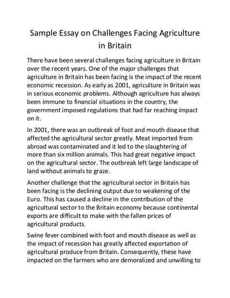sample essay  challenges facing agriculture  britain