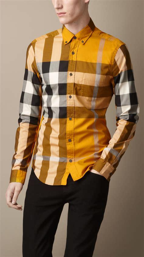 lyst burberry buttondown check shirt  yellow  men
