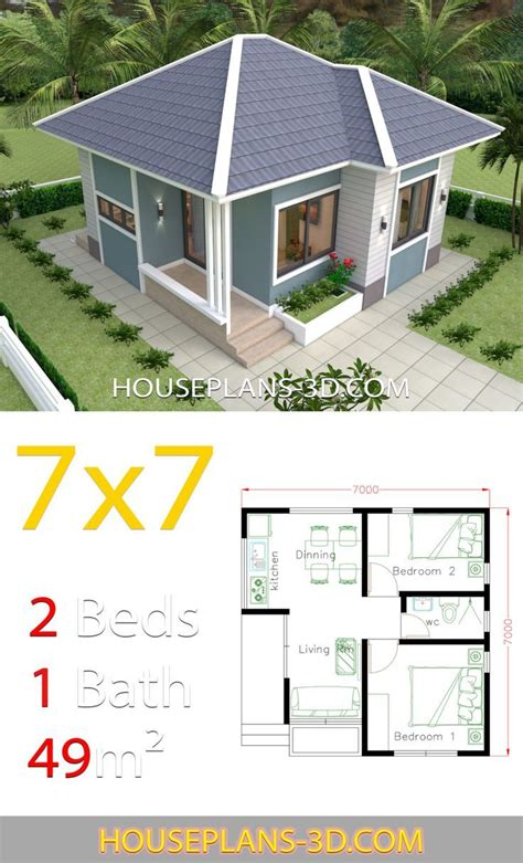 House Design Plans 7x7 with 2 Bedrooms House Plans 3d in