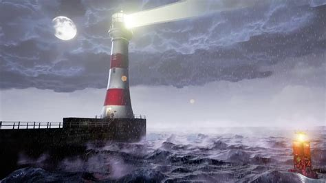 lighthouse harbour  environment storm animation