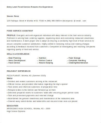 food service resume sle 6 exles in word pdf