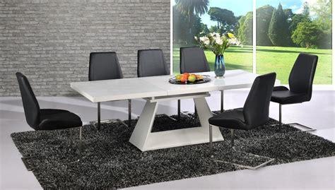 modern white high gloss extending dining table   black