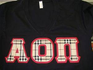 alpha omicron pi letters made with burberry fabric With alpha omicron pi letters