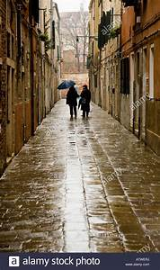 Back view of two people walking with umbrellas in the rain ...