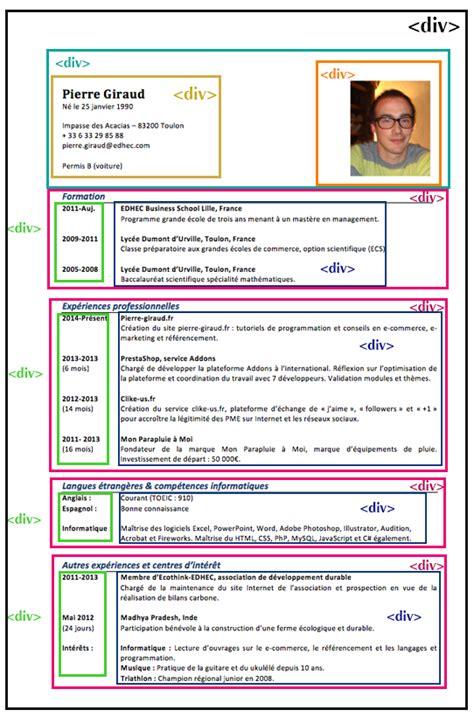 Ecrit Cv Francais by Comment Ecrit Cv Francais Exemple Cv Mise En Page
