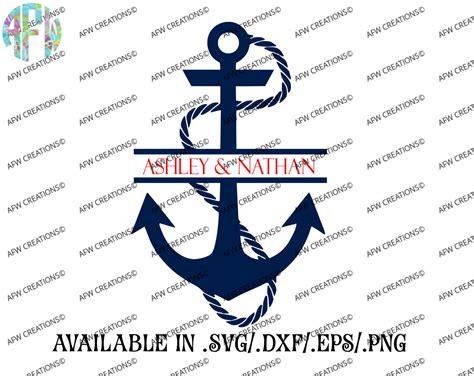 digital cut file split anchor svg dxf eps nautical