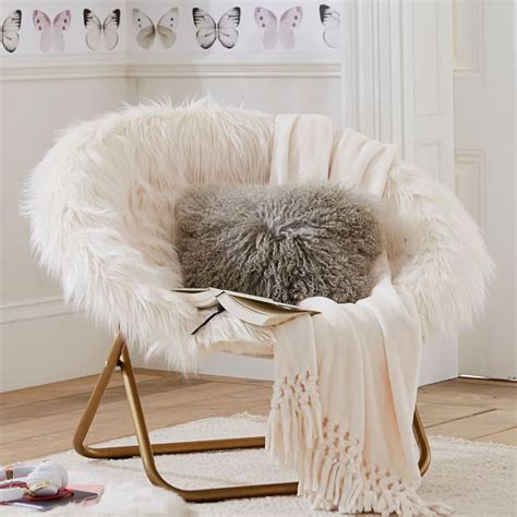 ivory himalayan faux fur hang   chair pbteen