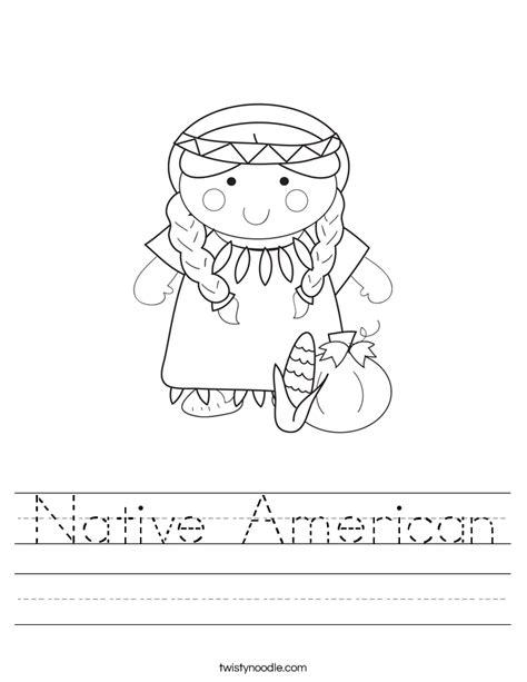 Native American Worksheet  Twisty Noodle
