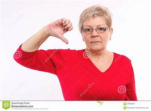Unhappy Elderly Woman Showing Thumbs Down, Negative ...