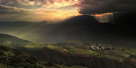 landscape nature sunrise village mountains terraces